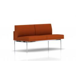 Canapé Tuxedo Herman Miller 2 places - sans accoudoir - structure chromée - Tissu Ottoman Luggage