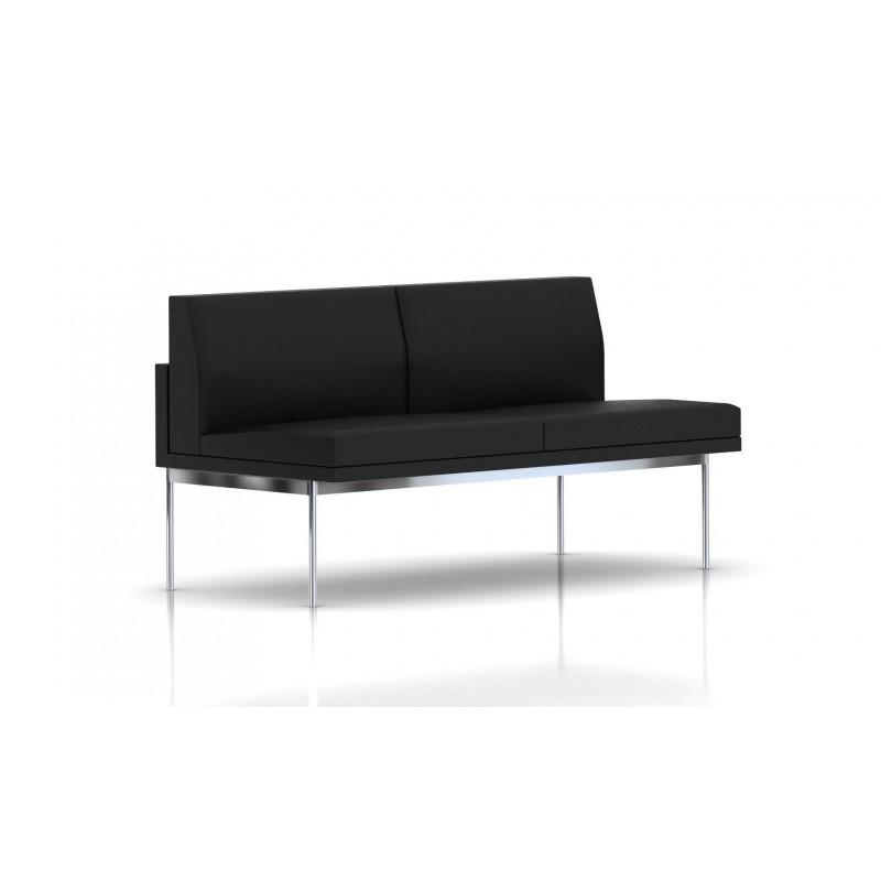 canap tuxedo herman miller 2 places sans accoudoir structure chrom e cuir mcl noir le. Black Bedroom Furniture Sets. Home Design Ideas