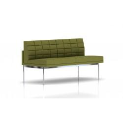 Canapé Tuxedo Herman Miller 2 places - sans accoudoir - surpiqures - structure chromée - Tissu Ottoman Willow
