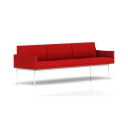 Canapé Tuxedo Herman Miller 3 places - avec accoudoirs - structure blanche - Tissu Ottoman Rouge