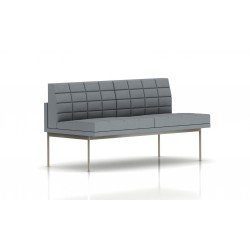 Canapé Tuxedo Herman Miller 2 places - sans accoudoir - surpiqures - structure satin chrome - Tissu Ottoman Oxford