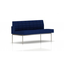 Canapé Tuxedo Herman Miller 2 places - sans accoudoir - surpiqures - structure satin chrome - Tissu Ottoman Bleu