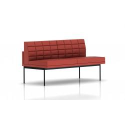 Canapé Tuxedo Herman Miller 2 places - sans accoudoir - surpiqures - structure noire - Cuir MCL Rouge