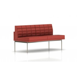 Canapé Tuxedo Herman Miller 2 places - sans accoudoir - surpiqures - structure satin chrome - Cuir MCL Rouge