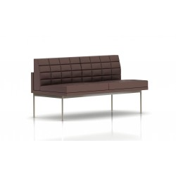 Canapé Tuxedo Herman Miller 2 places - sans accoudoir - surpiqures - structure satin chrome - Cuir MCL Brun