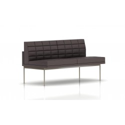Canapé Tuxedo Herman Miller 2 places - sans accoudoir - surpiqures - structure satin chrome - Cuir MCL Espresso