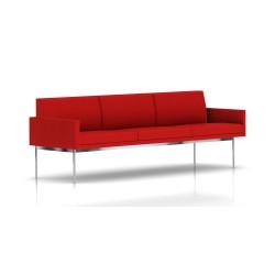 Canapé Tuxedo Herman Miller 3 places - avec accoudoirs - structure chromée - Tissu Ottoman Rouge