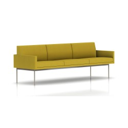 Canapé Tuxedo Herman Miller 3 places - avec accoudoirs - structure satin chrome - Tissu Ottoman Citron