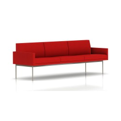 Canapé Tuxedo Herman Miller 3 places - avec accoudoirs - structure satin chrome - Tissu Ottoman Rouge