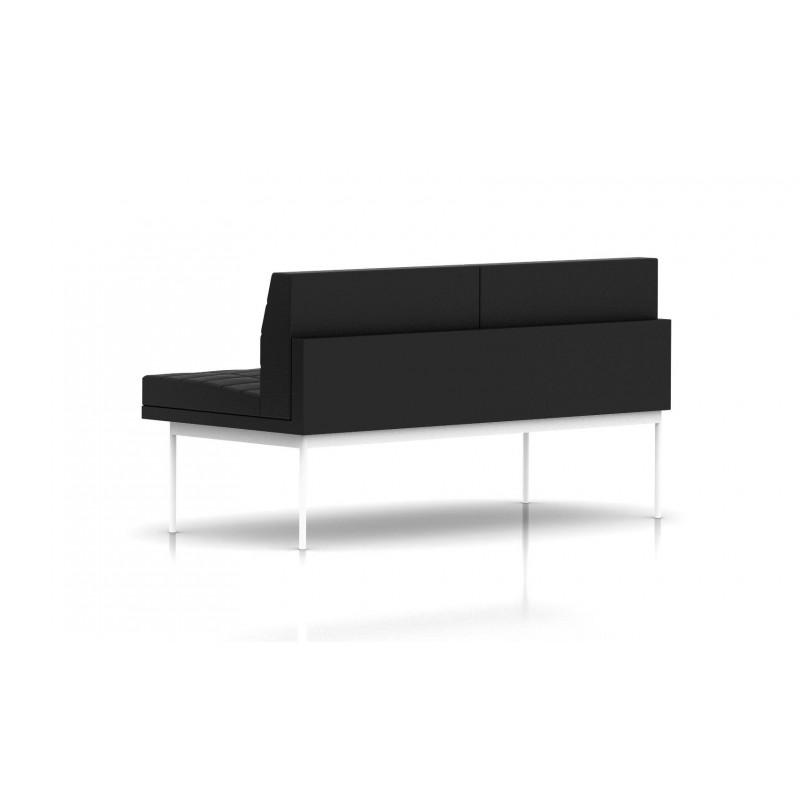 canap tuxedo herman miller 2 places sans accoudoir surpiqures structure blanche cuir. Black Bedroom Furniture Sets. Home Design Ideas