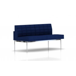 Canapé Tuxedo Herman Miller 2 places - sans accoudoir - surpiqures - structure chromée - Tissu Ottoman Bleu