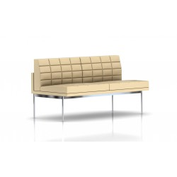 Canapé Tuxedo Herman Miller 2 places - sans accoudoir - surpiqures - structure chromée - Cuir MCL Almond