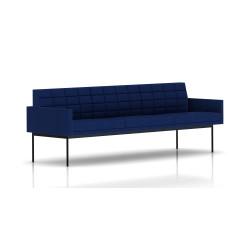 Canapé Tuxedo Herman Miller 3 places - avec accoudoirs - surpiqures - structure noire - Tissu Ottoman Bleu