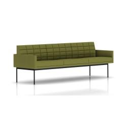 Canapé Tuxedo Herman Miller 3 places - avec accoudoirs - surpiqures - structure noire - Tissu Ottoman Willow