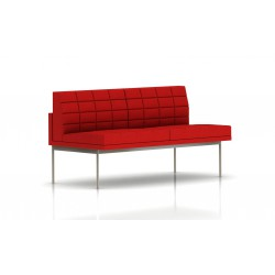Canapé Tuxedo Herman Miller 2 places - sans accoudoir - surpiqures - structure satin chrome - Tissu Ottoman Rouge