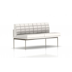 Canapé Tuxedo Herman Miller 2 places - sans accoudoir - surpiqures - structure satin chrome - Cuir MCL Pearl