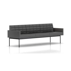 Canapé Tuxedo Herman Miller 3 places - avec accoudoirs - surpiqures - structure noire - Cuir MCL Lava