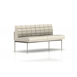 Canapé Tuxedo Herman Miller 2 places - sans accoudoir - surpiqures - structure satin chrome - Cuir MCL Ivoire