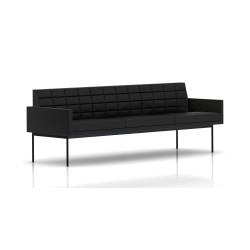 Canapé Tuxedo Herman Miller 3 places - avec accoudoirs - surpiqures - structure noire - Cuir MCL Noir