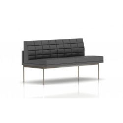 Canapé Tuxedo Herman Miller 2 places - sans accoudoir - surpiqures - structure satin chrome - Cuir MCL Lava