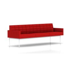Canapé Tuxedo Herman Miller 3 places - avec accoudoirs - surpiqures - structure blanche - Tissu Ottoman Rouge