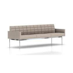 Canapé Tuxedo Herman Miller 3 places - avec accoudoirs - surpiqures - structure chromée - Tissu Ottoman Stone