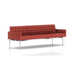 Canapé Tuxedo Herman Miller 3 places - avec accoudoirs - surpiqures - structure chromée - Cuir MCL Rouge