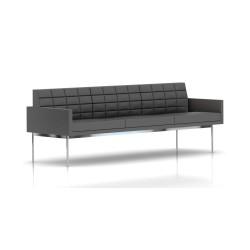Canapé Tuxedo Herman Miller 3 places - avec accoudoirs - surpiqures - structure chromée - Cuir MCL Lava