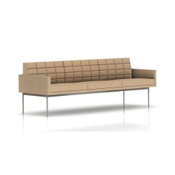 Canapé Tuxedo Herman Miller 3 places - avec accoudoirs - surpiqures - structure satin chrome - Tissu Ottoman Camel