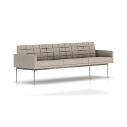 Canapé Tuxedo Herman Miller 3 places - avec accoudoirs - surpiqures - structure satin chrome - Tissu Ottoman Stone