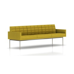 Canapé Tuxedo Herman Miller 3 places - avec accoudoirs - surpiqures - structure satin chrome - Tissu Ottoman Citron