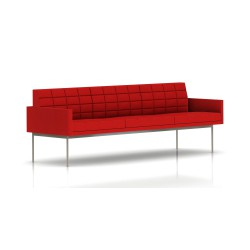 Canapé Tuxedo Herman Miller 3 places - avec accoudoirs - surpiqures - structure satin chrome - Tissu Ottoman Rouge