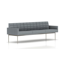 Canapé Tuxedo Herman Miller 3 places - avec accoudoirs - surpiqures - structure satin chrome - Tissu Ottoman Oxford