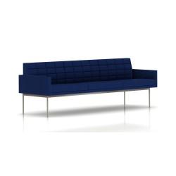 Canapé Tuxedo Herman Miller 3 places - avec accoudoirs - surpiqures - structure satin chrome - Tissu Ottoman Bleu
