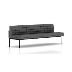Canapé Tuxedo Herman Miller 3 places - sans accoudoir - surpiqures - structure noire - Cuir MCL Lava