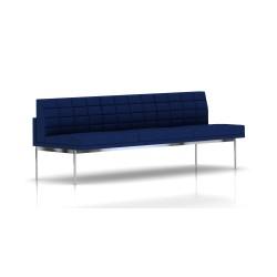 Canapé Tuxedo Herman Miller 3 places - sans accoudoir - surpiqures - structure chromée - Tissu Ottoman Bleu