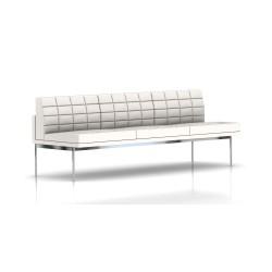 Canapé Tuxedo Herman Miller 3 places - sans accoudoir - surpiqures - structure chromée - Cuir MCL Pearl