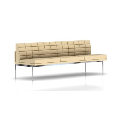 Canapé Tuxedo Herman Miller 3 places - sans accoudoir - surpiqures - structure chromée - Cuir MCL Almond