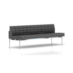 Canapé Tuxedo Herman Miller 3 places - sans accoudoir - surpiqures - structure chromée - Cuir MCL Lava