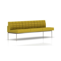 Canapé Tuxedo Herman Miller 3 places - sans accoudoir - surpiqures - structure satin chrome - Tissu Ottoman Citron