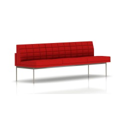 Canapé Tuxedo Herman Miller 3 places - sans accoudoir - surpiqures - structure satin chrome - Tissu Ottoman Rouge
