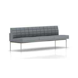Canapé Tuxedo Herman Miller 3 places - sans accoudoir - surpiqures - structure satin chrome - Tissu Ottoman Oxford