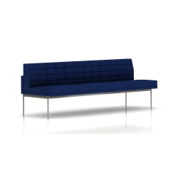 Canapé Tuxedo Herman Miller 3 places - sans accoudoir - surpiqures - structure satin chrome - Tissu Ottoman Bleu