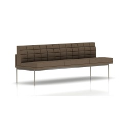 Canapé Tuxedo Herman Miller 3 places - sans accoudoir - surpiqures - structure satin chrome - Tissu Ottoman Trench
