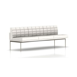 Canapé Tuxedo Herman Miller 3 places - sans accoudoir - surpiqures - structure satin chrome - Cuir MCL Pearl