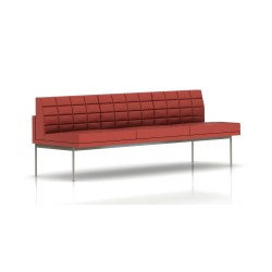 Canapé Tuxedo Herman Miller 3 places - sans accoudoir - surpiqures - structure satin chrome - Cuir MCL Rouge