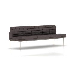 Canapé Tuxedo Herman Miller 3 places - sans accoudoir - surpiqures - structure satin chrome - Cuir MCL Espresso