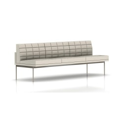 Canapé Tuxedo Herman Miller 3 places - sans accoudoir - surpiqures - structure satin chrome - Cuir MCL Stone