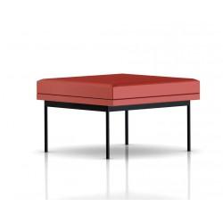 Pouf Tuxedo Ottoman Herman Miller 1 place - structure noire - Cuir MCL Rouge