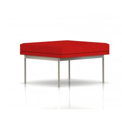 Pouf Tuxedo Ottoman Herman Miller 1 place - structure satin chrome - Tissu Ottoman Rouge